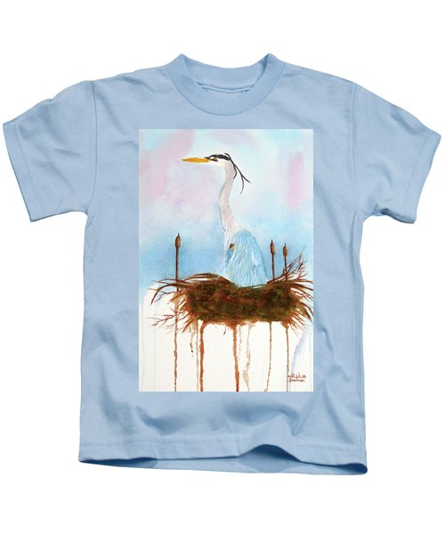 Blue Heron Nesting Kids T-Shirt