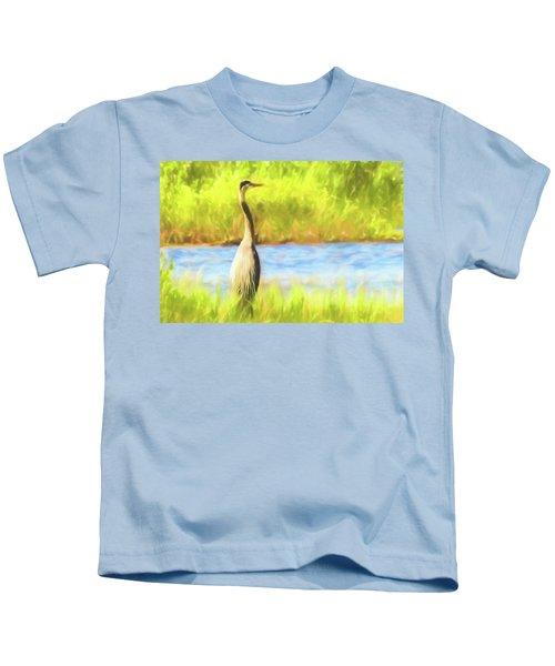 Blue Heron Standing Tall And Alert Kids T-Shirt