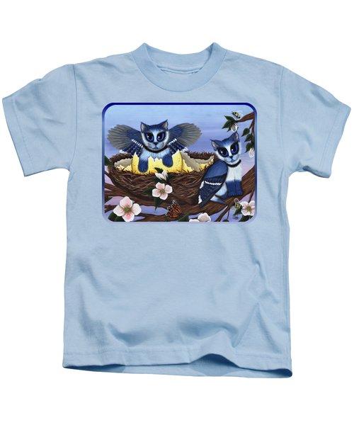 Blue Jay Kittens Kids T-Shirt by Carrie Hawks