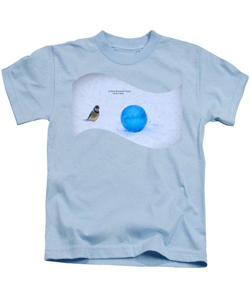 Blue Winter Kids T-Shirt by Linda Troski