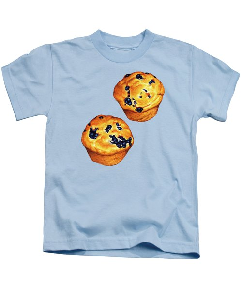 Blueberry Muffin Pattern Kids T-Shirt by Kelly Gilleran