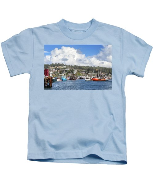 Boats In Yaquina Bay Kids T-Shirt