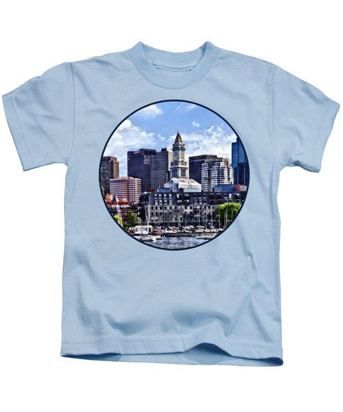 Boston Ma - Skyline With Custom House Tower Kids T-Shirt