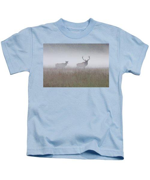 Bull And Cow Elk In Fog - September 30 2016 Kids T-Shirt