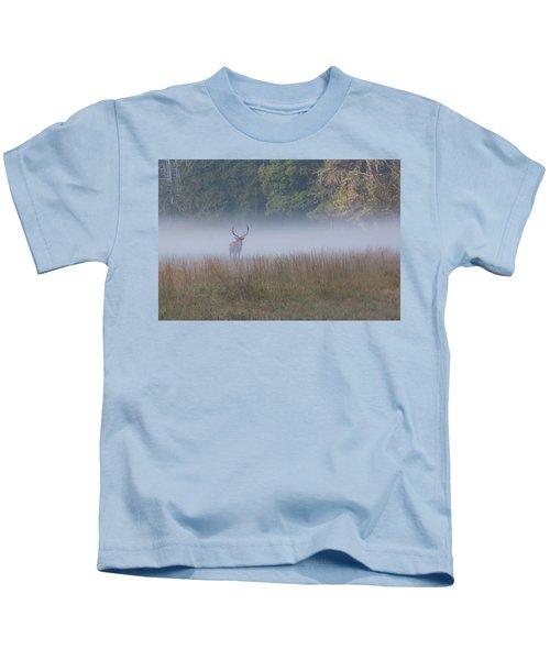 Bull Elk Disappearing In Fog - September 30 2016 Kids T-Shirt