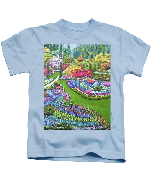 Kids T-Shirt featuring the painting Butchart Gardens by Amelie Simmons