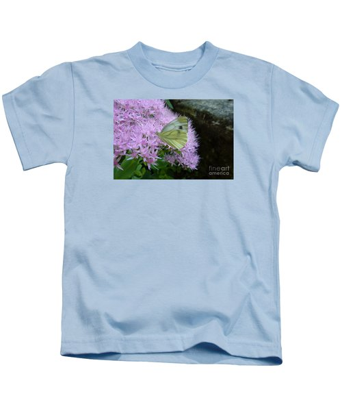 Butterfly On Mauve Flowers Kids T-Shirt