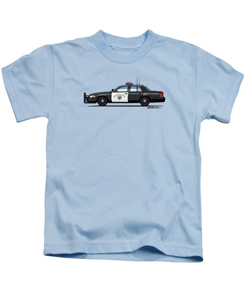 California Highway Patrol Ford Crown Victoria Police Interceptor Kids T-Shirt by Monkey Crisis On Mars