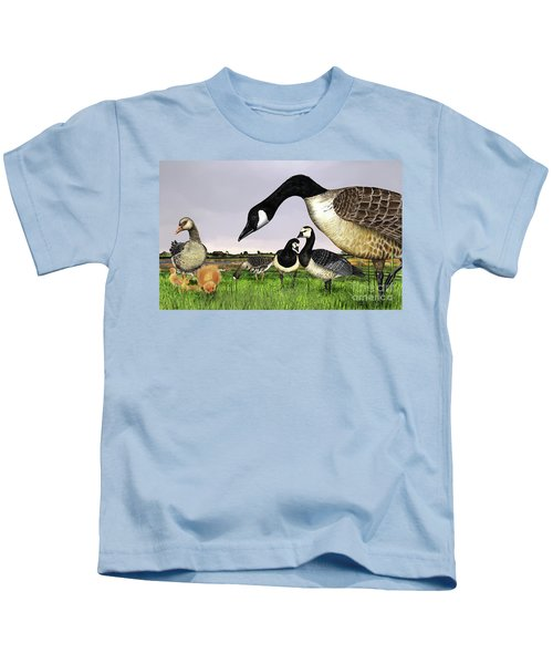 Canada Goose - Greylag Goose With Fledglings Chicks - White Fronted Goose -  Barnacle Goose Kids T-Shirt