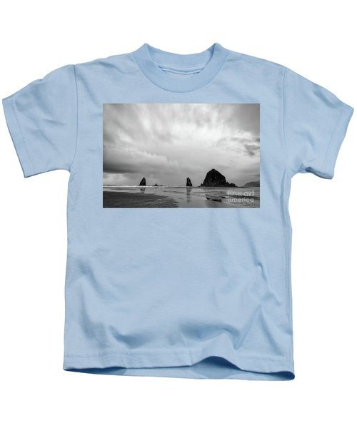 Cannon Beach In Black And White Kids T-Shirt