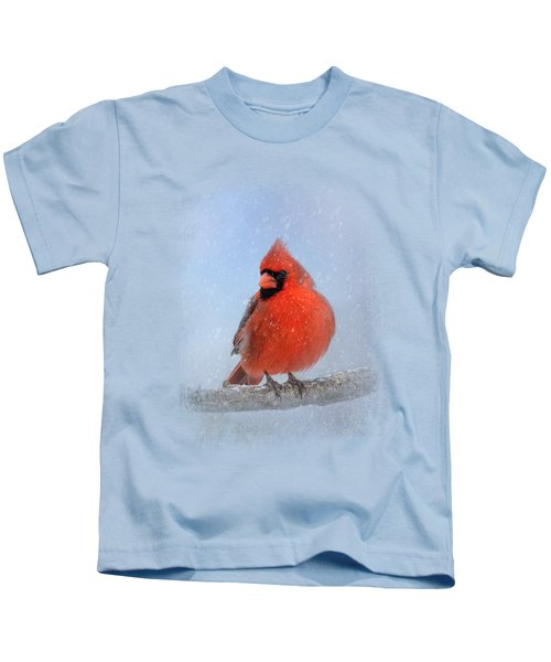 Cardinal In The Snow Kids T-Shirt by Jai Johnson