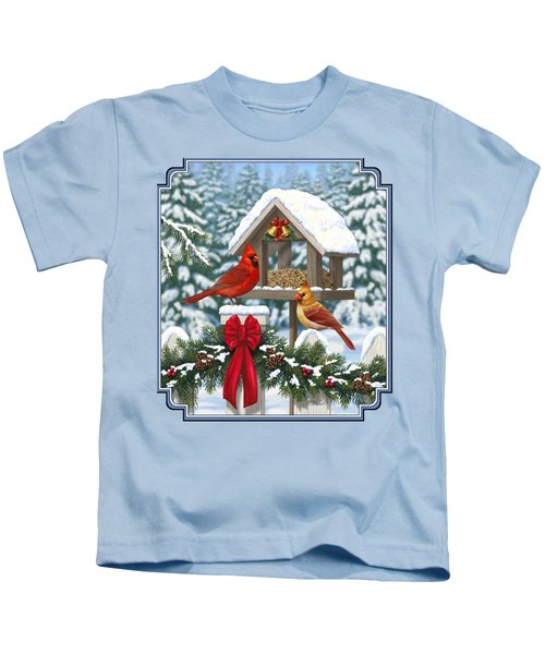 Cardinals Christmas Feast Kids T-Shirt by Crista Forest
