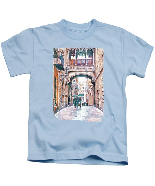 Carrer Del Bisbe - Barcelona Kids T-Shirt by Marian Voicu