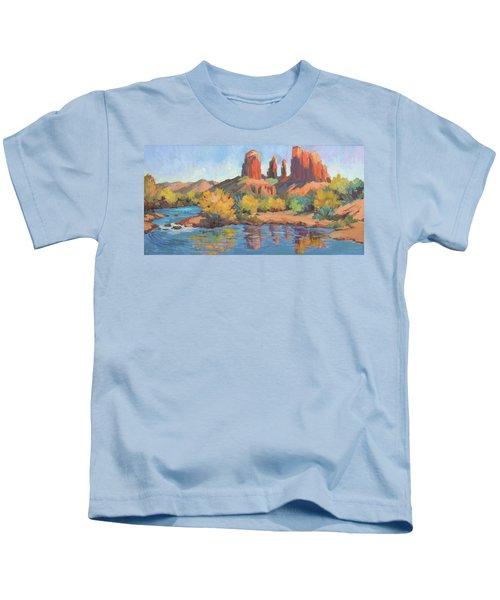 Moonrise Cathedral Rock Sedona Kids T-Shirt