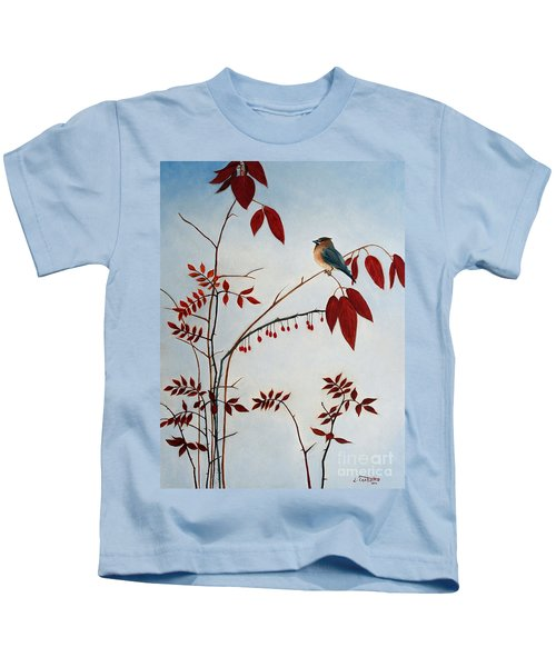 Cedar Waxwing Kids T-Shirt by Laura Tasheiko