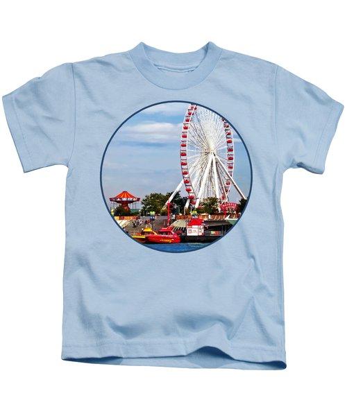 Chicago Il - Ferris Wheel At Navy Pier Kids T-Shirt