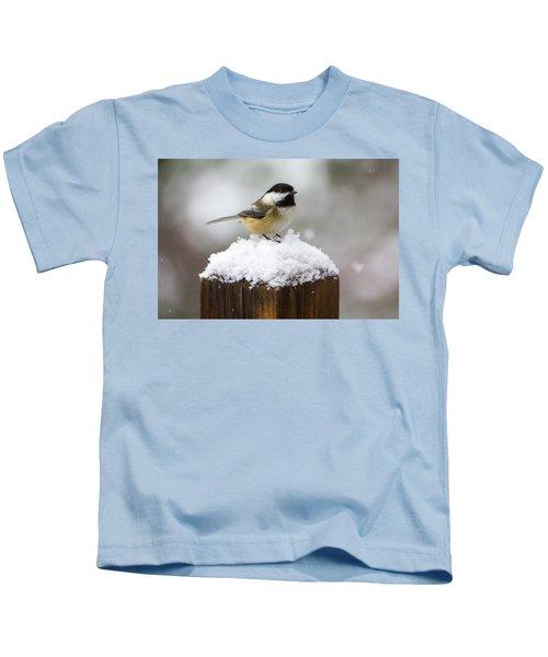 Chickadee In The Snow Kids T-Shirt
