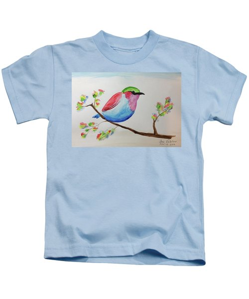 Chickadee With Green Head On A Branch Kids T-Shirt