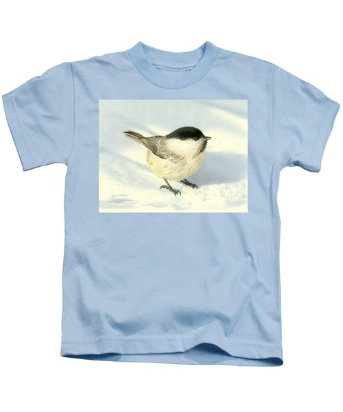 Chilly Chickadee Kids T-Shirt by Sarah Batalka