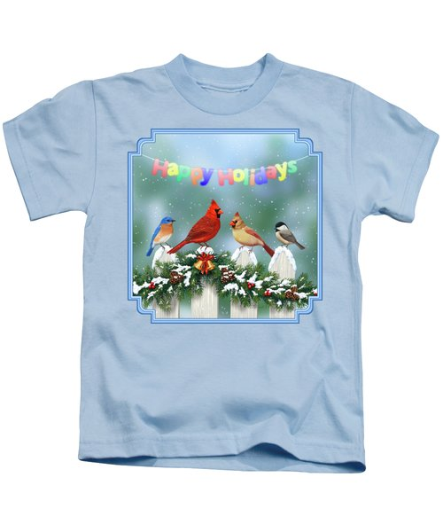 Christmas Birds And Garland Kids T-Shirt by Crista Forest
