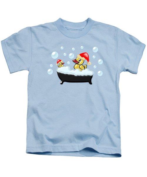 Christmas Ducks Kids T-Shirt by Anastasiya Malakhova