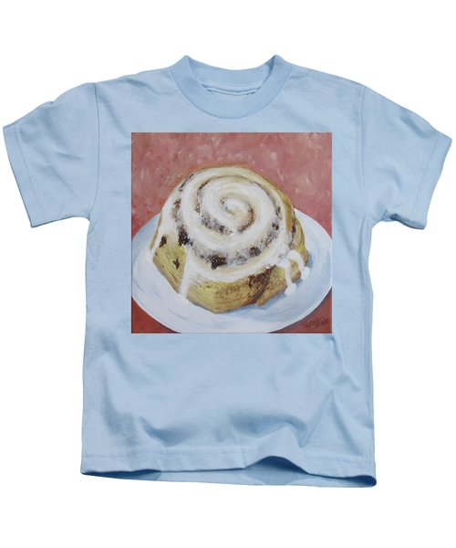 Kids T-Shirt featuring the painting Cinnamon Roll by Nancy Nale