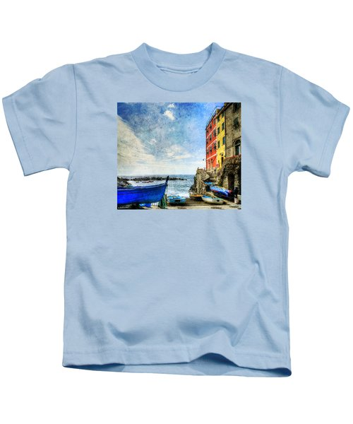 Cinque Terre - Little Port Of Riomaggiore - Vintage Version Kids T-Shirt