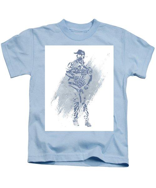 Clayton Kershaw Los Angeles Dodgers Water Color Art 2 Kids T-Shirt