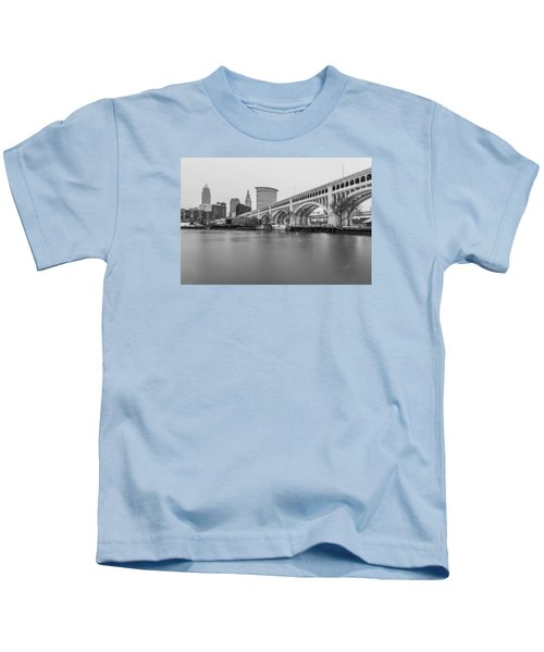 Cleveland Skyline In Black And White  Kids T-Shirt
