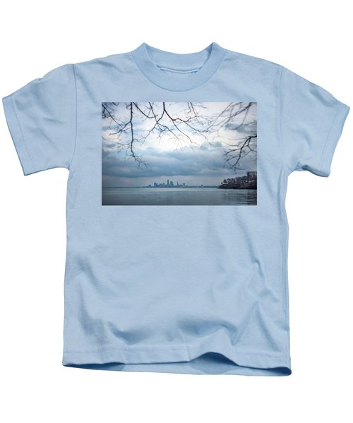 Cleveland Skyline With A Vintage Lens Kids T-Shirt