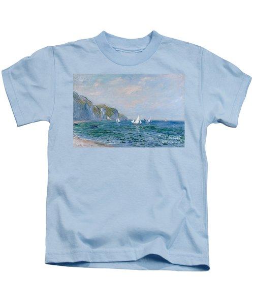 Cliffs And Sailboats At Pourville  Kids T-Shirt