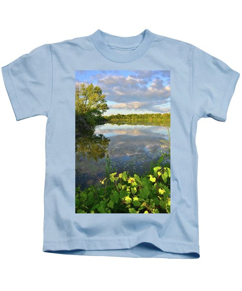 Clouds Mirrored In Snug Harbor Kids T-Shirt