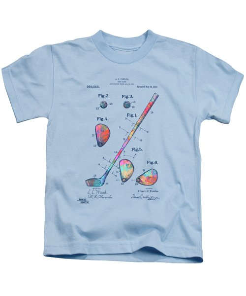 Colorful 1910 Golf Club Patent Kids T-Shirt
