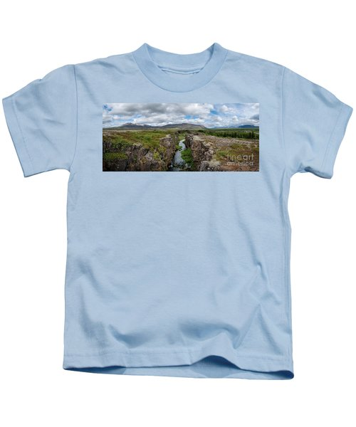 Continental Divide Panorama In Iceland Kids T-Shirt