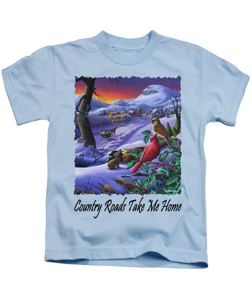 Country Roads Take Me Home - Small Town Winter Landscape With Cardinals - Americana Kids T-Shirt