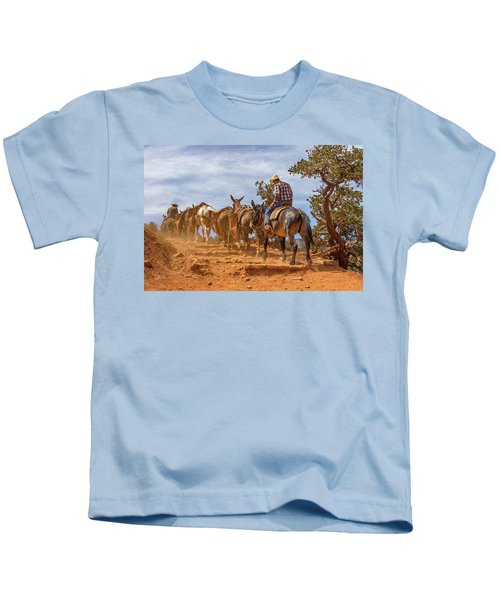 Cowboy And Mule Train On The South Kaibab Trail In The Grand Canyon Kids T-Shirt
