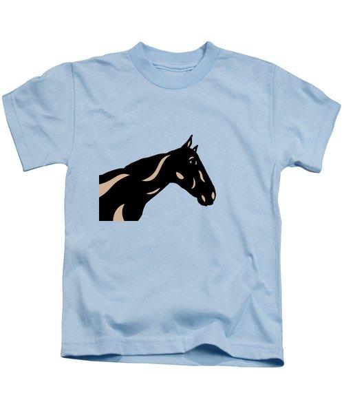 Crimson - Pop Art Horse - Black, Hazelnut, Island Paradise Blue Kids T-Shirt