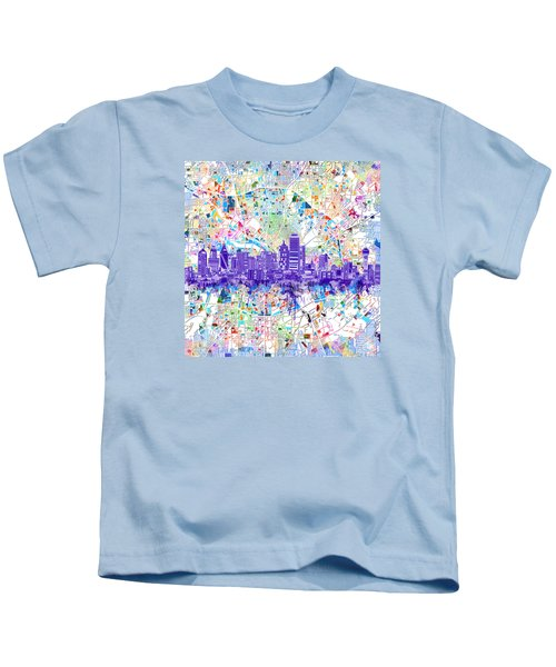 Dallas Skyline Map White 3 Kids T-Shirt