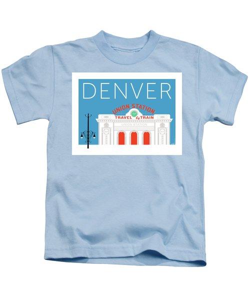 Denver Union Station/blue Kids T-Shirt