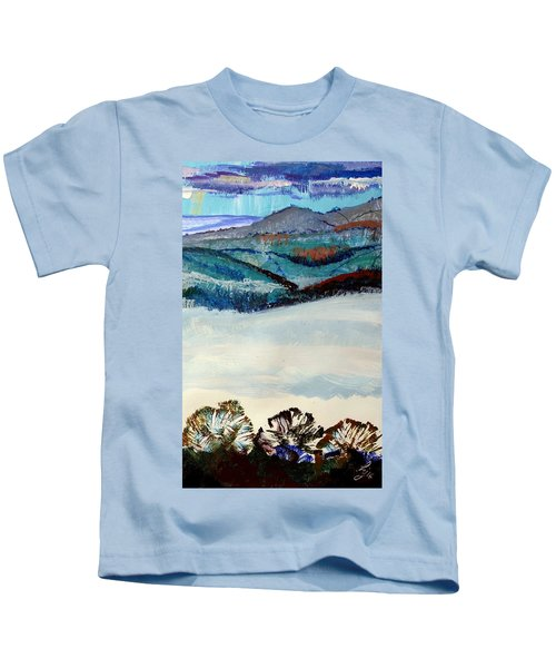 Distant Hills And Mist In The Lowlands Landscape Kids T-Shirt