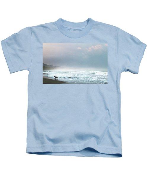 Dog On A Costa Rica Beach Kids T-Shirt