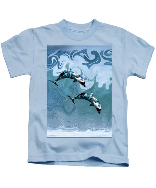 Dolphins Playing In The Waves Kids T-Shirt