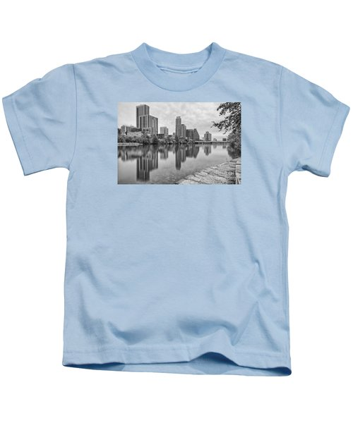 Downtown Austin In Black And White Across Lady Bird Lake - Colorado River Texas Hill Country Kids T-Shirt by Silvio Ligutti