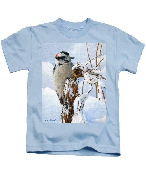 Downy Woodpecker  Kids T-Shirt by Ken Everett