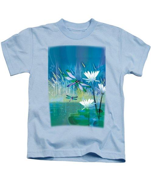 Dragonfleis On Blue Pond Kids T-Shirt