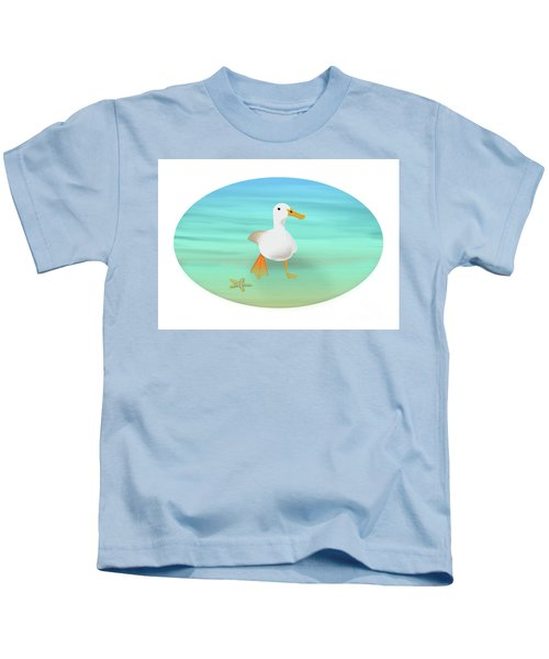 Duck Paddling At The Seaside Kids T-Shirt