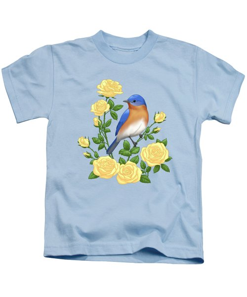 Eastern Bluebird And Yellow Roses Kids T-Shirt