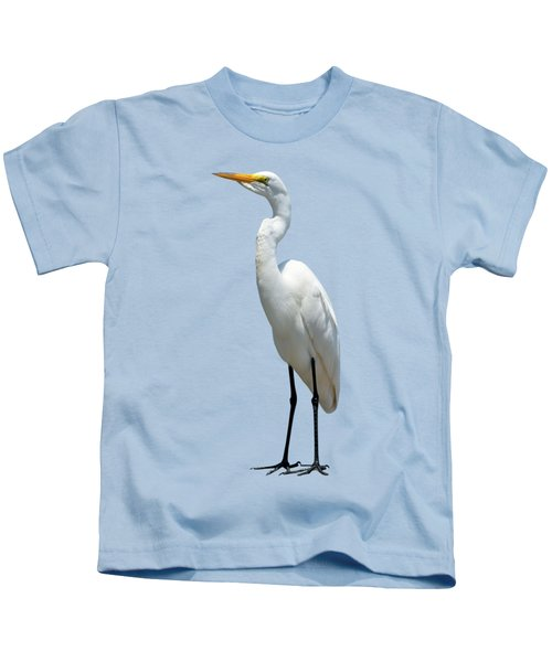 Eastern Great Egret Ardea Alba Modesta Kids T-Shirt