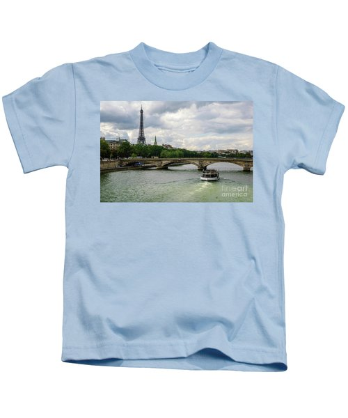 Eiffel Tower And The River Seine Kids T-Shirt
