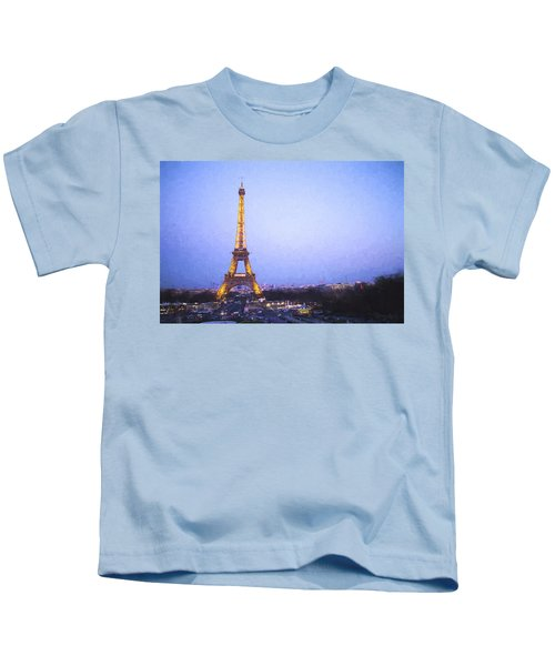 Eiffel Tower At Dusk Van Gogh Style Kids T-Shirt